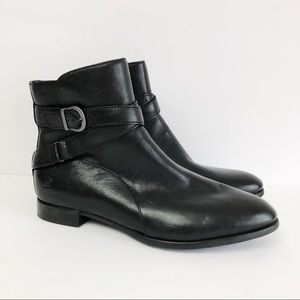Born Easton Black Leather Ankle Boots Booties